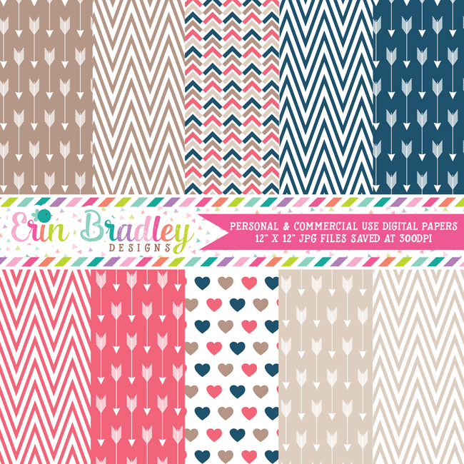 Arrows and Chevron Kraft Digital Papers