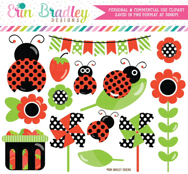 Commercial Use Ladybug Clipart in Red Black and Green