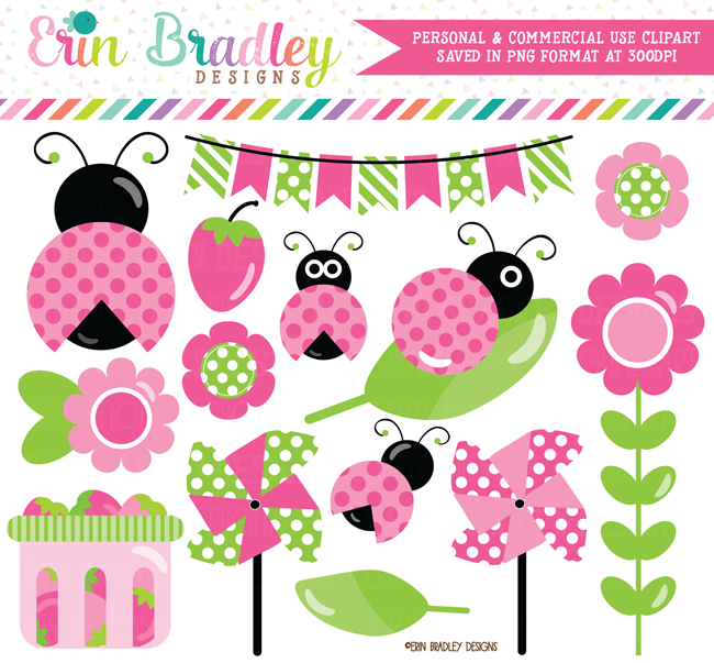Girls Ladybug Clipart Pink and Green