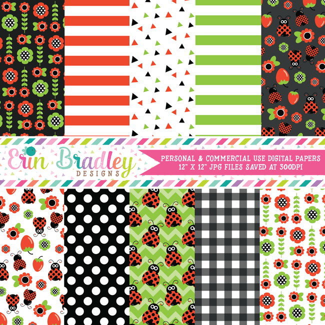 Ladybugs Digital Paper Pack