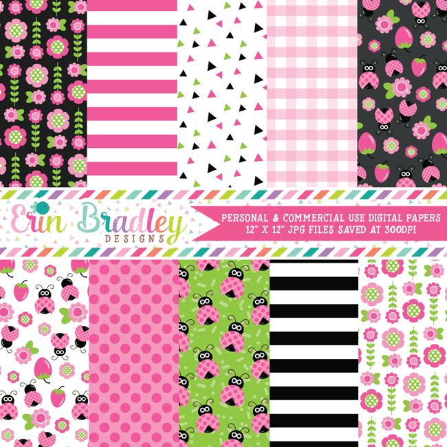 Pink Ladybugs Digital Papers