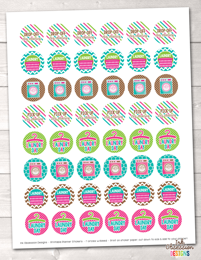 graphic regarding Circle Printable Stickers titled Laundry Printable Planner Stickers