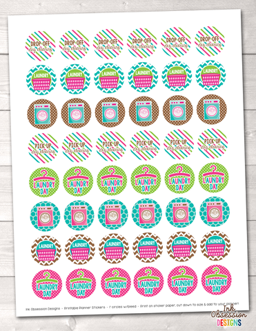Laundry Printable Planner Stickers