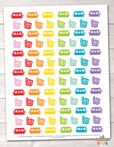 Instant Download Lazy Day Couch Printable Planner Stickers