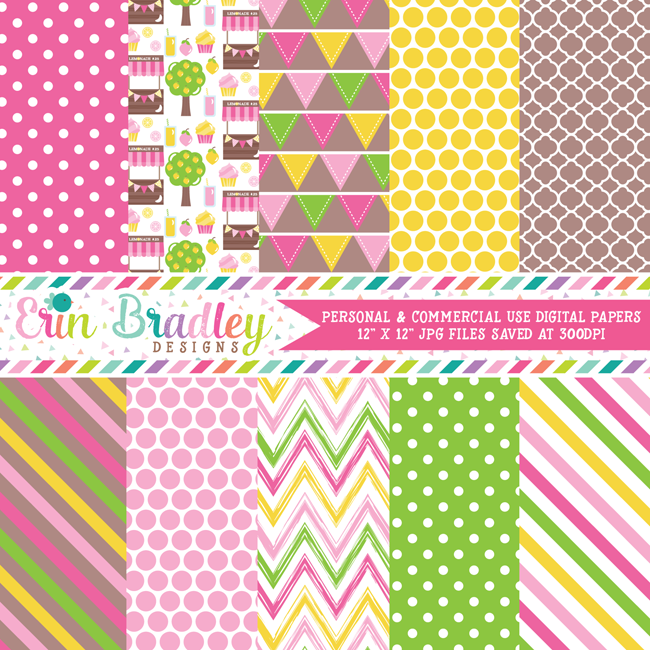 Lemonade Stand Digital Paper Pack