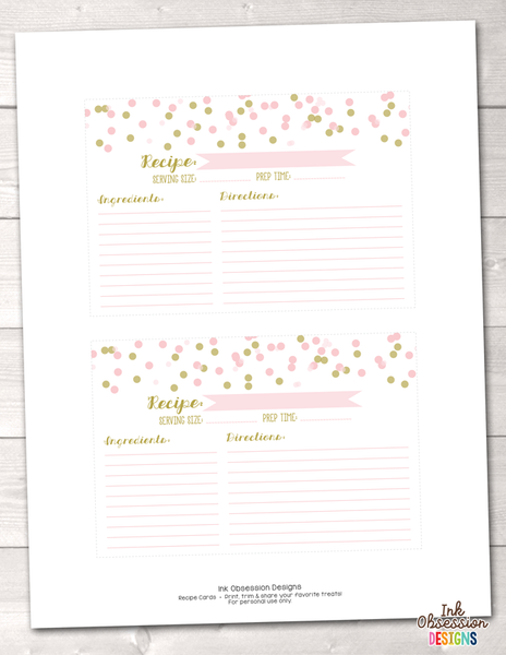 Light Pink and Gold Polka Dot Confetti Printable Recipe Cards