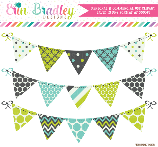 Lime Blue and Gray Banner Flag Bunting Clipart