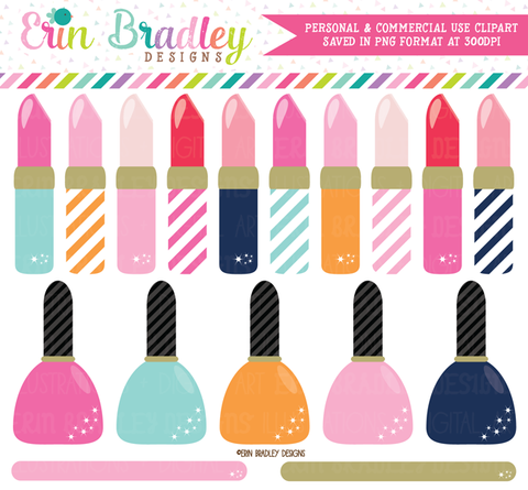 Beauty Clipart Lipstick and Nail Polish Graphics