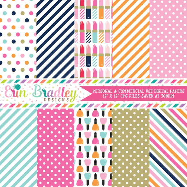 Lipstick and Nail Polish Beauty Digital Papers