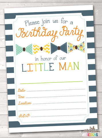 Little Man Bow Tie Printable Birthday Party Invitation