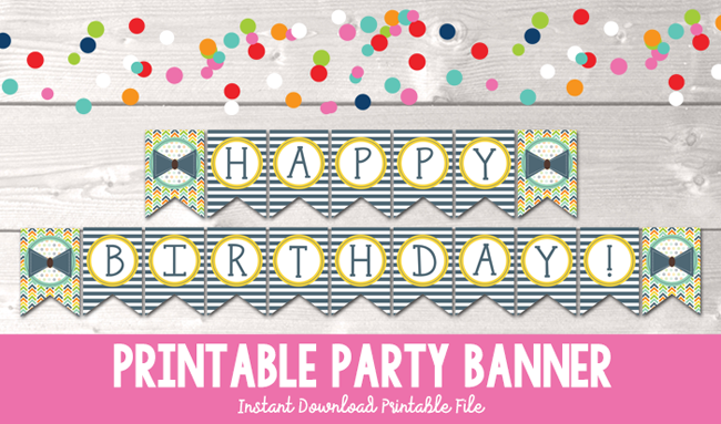 picture regarding Birthday Banner Printable named Small Guy Bow Tie Satisfied Birthday Printable Bash Banner