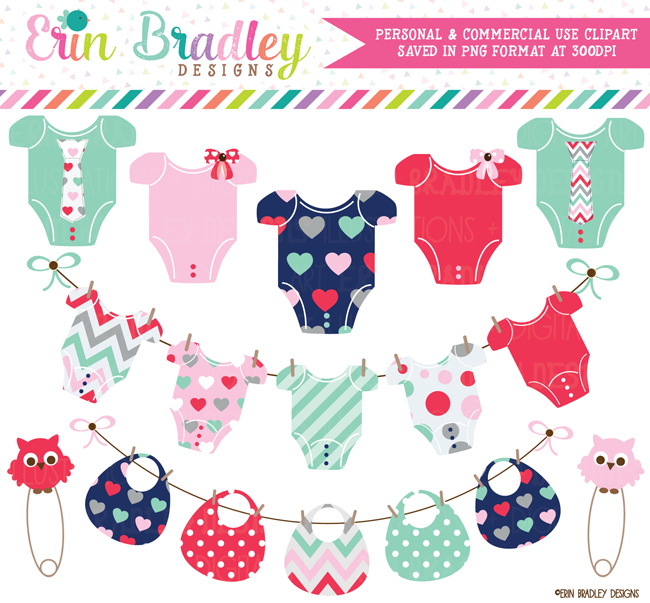 Valentines Day Baby Tees and Bibs Bunting Clipart