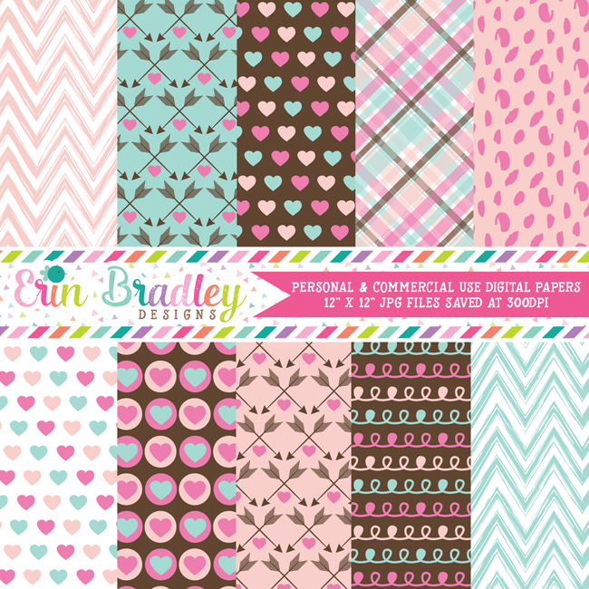 Love Valentines Day Digital Paper Pack
