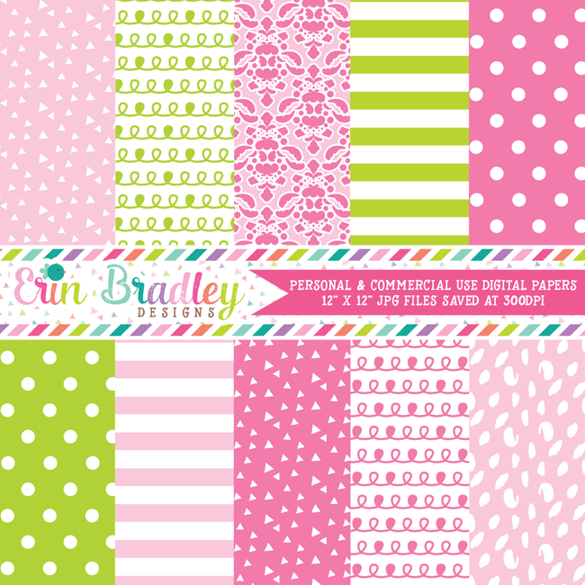 Lovely Pinks and Green Digital Paper Pack