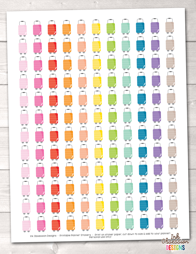 Luggage Printable Planner Stickers