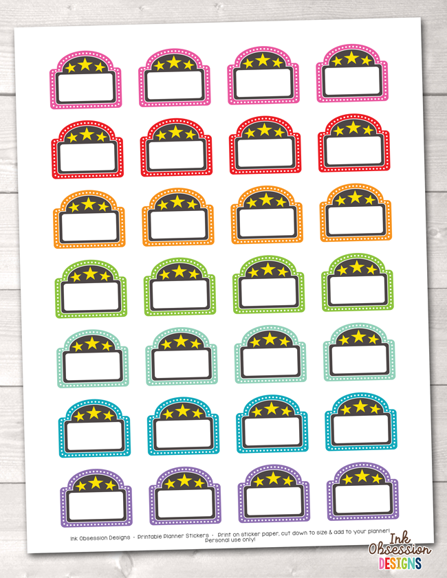 Movie Marquee Printable Planner Stickers