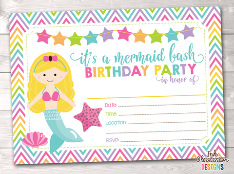 Blonde Mermaid Printable Birthday Party Invitation