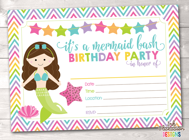 Brunette Mermaid Printable Birthday Party Invitation