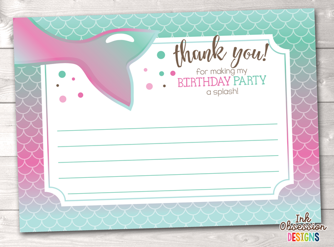 image about Printable Mermaid identify Mermaid Birthday Occasion Thank On your own Playing cards inside of Red Blue