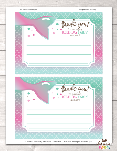 Printable Mermaid Birthday Party Thank You Cards Pink & Blue