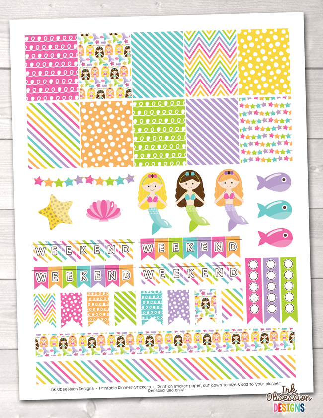 Mermaids Printable Planner Stickers Weekly Kit