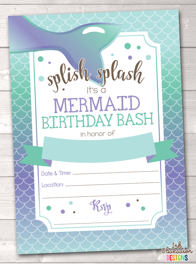 picture about Printable Mermaid Invitations known as Mermaid Gals Printable Birthday Occasion Invitation