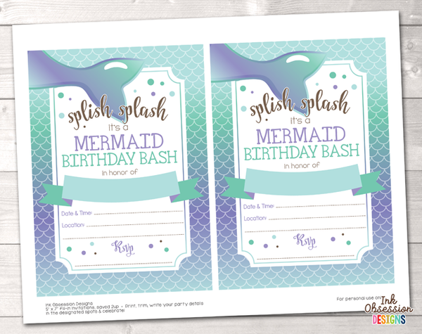 Mermaid Girls Printable Birthday Party Invitation