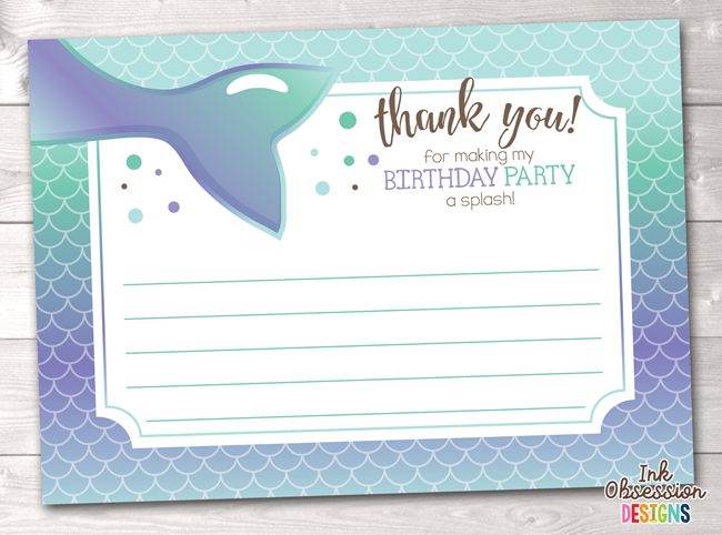 Printable Mermaid Birthday Party Thank You Cards Purple Blue