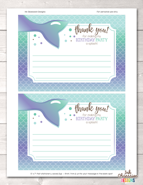 Printable Mermaid Birthday Party Thank You Cards Purple & Blue