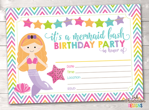 Redhead Mermaid Printable Birthday Party Invitation