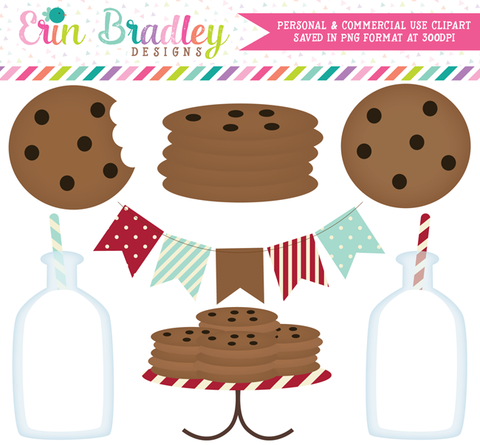 Milk and Cookies Clipart in Red and Aqua Blue