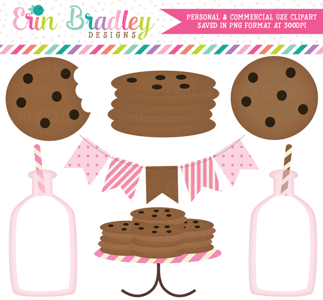 Pink Girls Milk and Cookies Clipart