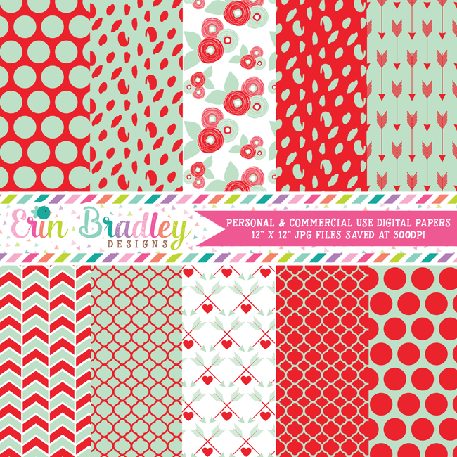 Mint and Red Valentines Day Digital Papers