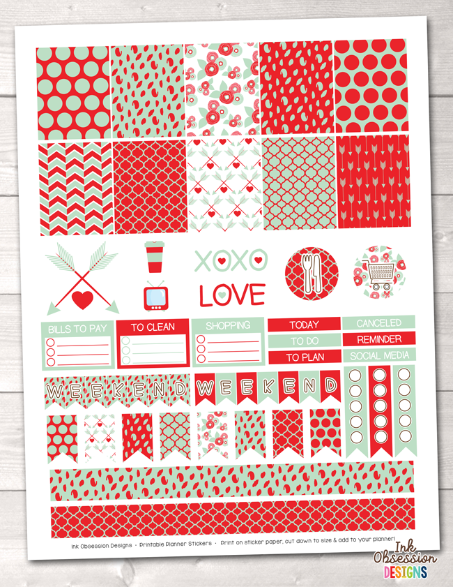 Valentines Day Mint and Red Printable Planner Stickers Weekly Kit