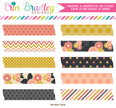 Mod Fall Digital Washi Tape Clipart