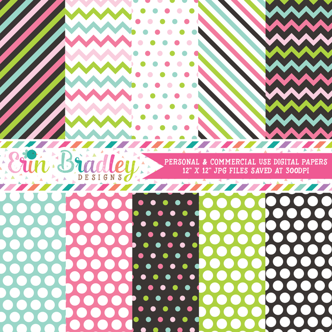 Commercial Use Mod Medley Digital Paper Pack