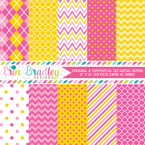 Monkey Girl Yellow and Pink Digital Paper Pack
