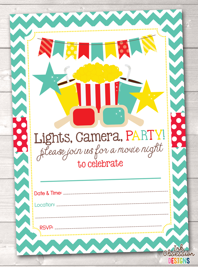 Movie Party Printable Birthday Party Invitation