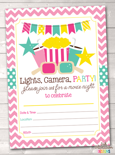 Pink Movie Party Printable Birthday Party Invitation