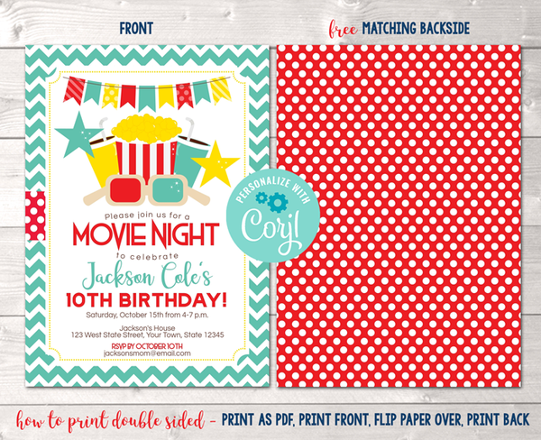 Editable Movie Night Birthday Party Invitation Instant Download Digital File