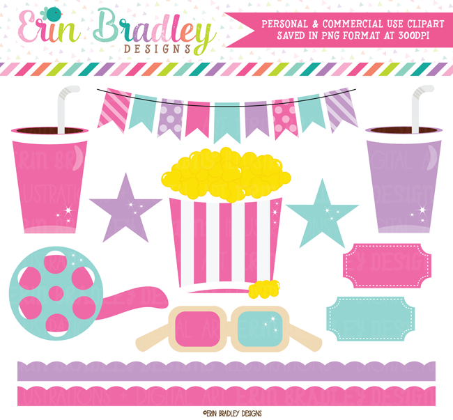 Girls Movie Theater Clipart Graphics