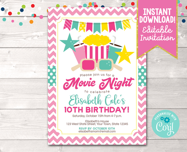 Editable Movie Night Pink Birthday Party Invitation Instant Download Digital File