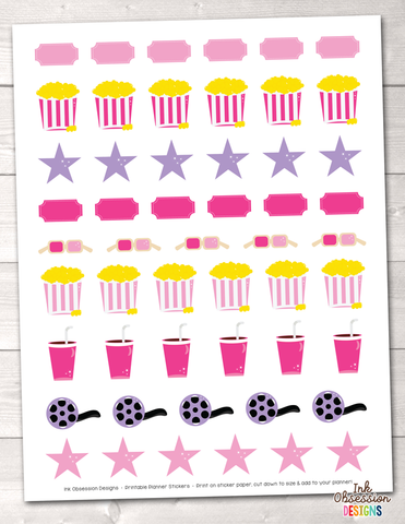 Movie Theater Girls Printable Planner Stickers Instant Download PDF