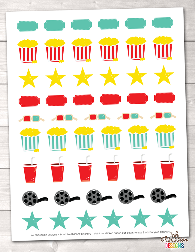 Movie Theater Printable Planner Stickers Instant Download PDF