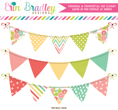 Muted Brights Bunting Banner Flag Clipart