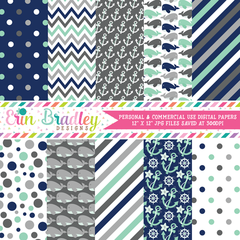 Nautical Blue Whales Digital Paper Pack