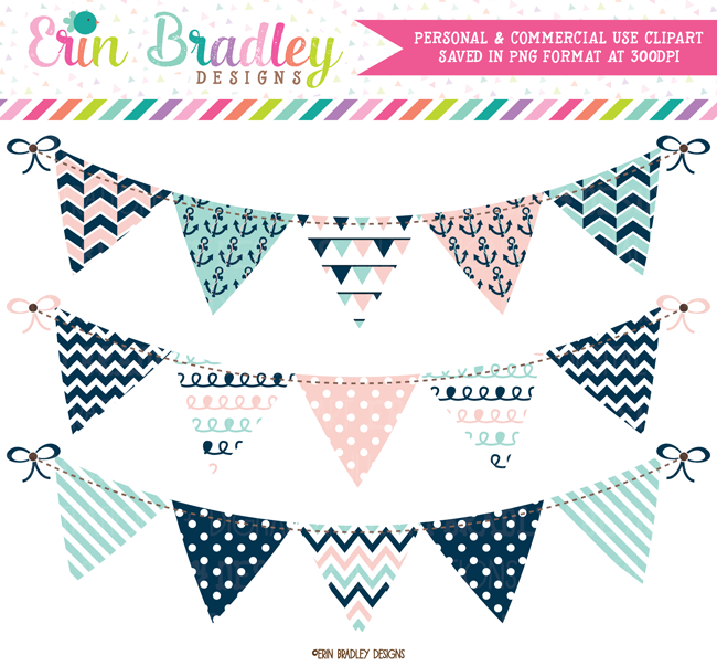 Nautical Pink and Blue Clipart Bunting