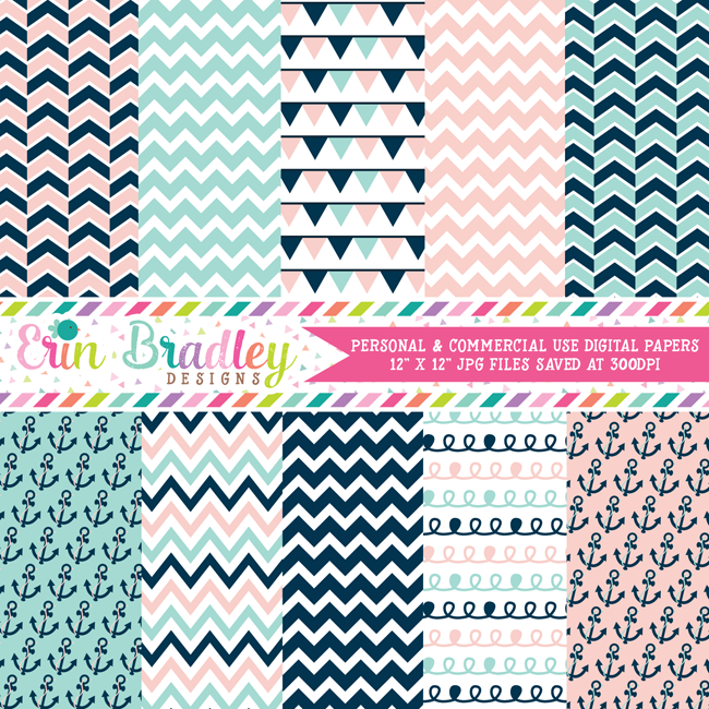 Nautical Pink and Blue Digital Papers