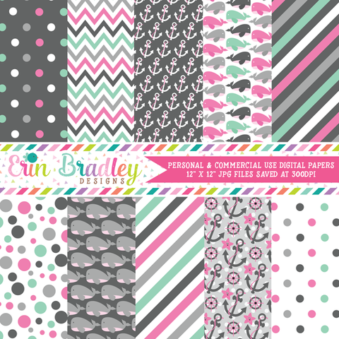 Nautical Pink Whales Digital Paper Pack
