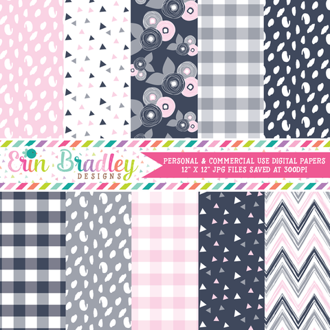 Navy Pink and Gray Digital Paper Pack